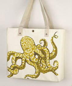 Sarah Watts tote-available for wholesale from Peking Handicraft Cotton Bag, Cotton Canvas, Luggage Sets, Yellow And Brown, Octopus, Take That, Reusable Tote Bags, Shoulder Bag, Accessories