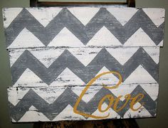 Pallet wood chevron love sign rustic and by PolishedExpression