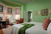 The Philadelphian at Cornerstone Bed and Breakfast of Philadelphia:This spacious and attractive first floor guest room is decorated in a soothing green and features three stunning stained glass bay windows overlooking the garden. Hanging Stained Glass, Stained Glass Panels, Romantic Bed And Breakfast, Palmer House, State Room, House Beds, Cozy Bed, Guest Room, Furniture