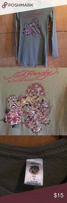 Ed Hardy by Christian Audigier Long-sleeve Top Ed Hardy by Christian Audigier Long-sleeve Top, pretty Olive Green, With Lion and Peony Flower, Size Small, Some Pilling (price reflects), Smoke Free Home. Ed Hardy Tops Tees - Long Sleeve