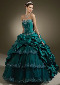 Teal Beaded Quinceanera Dress with Match Jacket 87084    quinceanera-gown-dresses.com