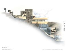 Section view showing topography of Fallingwater Architecture Design, Water Architecture, Architecture Drawings, Casas De Frank Lloyd Wright, Frank Lloyd Wright Homes, Franck Loyd Wright, Casa Kaufmann, Falling Water House, Falling Waters