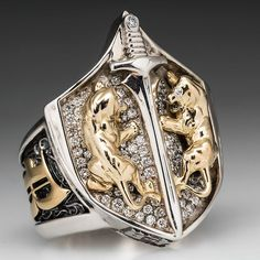 "Proclamation Jewelry Custom Made Mens Diamond Lion ""The Shield"" Ring - Solid .925 Sterling & 18K Gold."