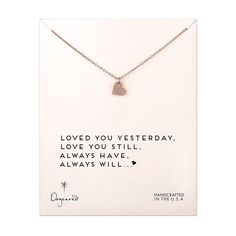 rose gold, loved you yesterday... necklace, sparkle heart, 18""