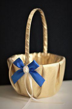 Royal Blue Flower Girl Basket Ring Bearer Pillow by AlexEmotions