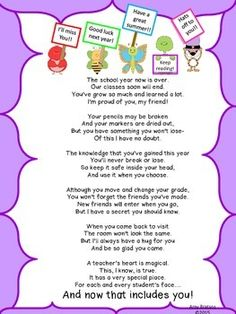 End of the Year Poem from the Teacher to each Student by Amy Bratsos Preschool Graduation Poems, Graduation Speech, End Of Year Activities, Preschool Learning Activities, Preschool Ideas, Student Teacher Gifts, School Teacher, Poems About School, Letter To Parents