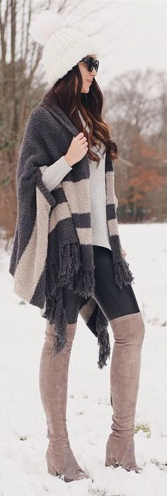 71f9adc0d7b8  winter  outfits black and gray coat with brown thigh-high boots and white