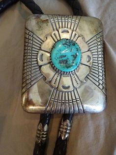 Huge Signed Vintage NAVAJO Tommy Singer Sterling Silver & Turquoise BOLO with Drum Beads, #TurquoiseKachina