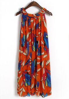 Red Feather Print Irregular Belt Sleeveless Chiffon Dress