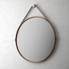 Round out your contemporary loft or living room with this Modloft George Wall Mirror . Crafted with a circular steel frame wrapped in natural leather,. Modern Furniture Online, Cool Furniture, Furniture Design, Mirrors With Leather Straps, Mid-century Modern, Contemporary, Modern Classic, Circular Mirror, Round Mirrors