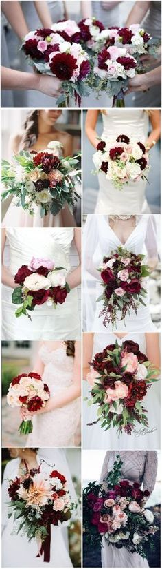 #WeddingBouquet » 16 Elegant Burgundy and Blush Wedding Bouquet Ideas #BurgundyWeddingIdeas