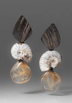 Monies UNIQUE Citrine, Horn & Ammonite Clip Ons   Santa Fe Dry Goods