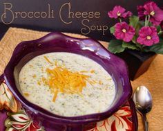 Broccoli Cheese Soup (made 14 Oct 2013) - This is really easy to make and is pretty tasty, too, but it's not as cheesy as I want.  It's got two cups of shredded cheddar, but it just doesn't *taste* cheesy.  I'll keep looking for a better recipe. (KJ)