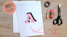 Tutorial for stitched letters on paper. Download the free letter template, print it out on cardboard and stitch with neonpink coloured twine a wonderful typeletter.…