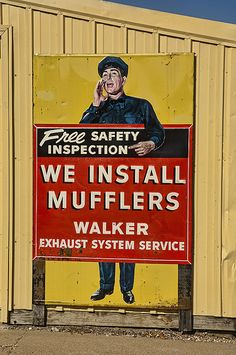 Vintage Metal Muffler Advertising Sign