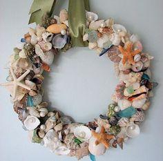 ***Check out this website for coastal decor of all kinds: Sea Glass/Sea Life/Seashell Decor Coastal Wreath, Seashell Wreath, Seashell Crafts, Coastal Decor, Floral Wreath, Seashell Art, Coastal Living, Starfish, Beach Grass