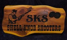 Cedar Sign - SKS Shooters Photo | Cedar Signs by CedarSlabSigns.com Lake House Signs, Cabin Signs, Cottage Signs, Home Signs, Camper Signs, Personalized Signs, Carving, Clay, Personalised Signs