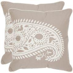 Safavieh Paisley Cotton Decorative Pillow (Set of 2) Khaki and white paisley  $81.86