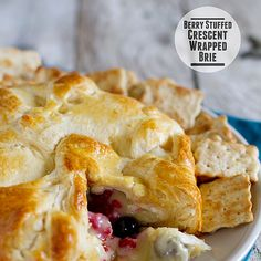 Berry Stuffed Crescent Wrapped Brie Recipe Appetizers, Breads with refrigerated crescent rolls, brie cheese, berries, eggs