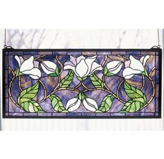 "Meyda Tiffany 30705 Stained Glass Tiffany Window from the Floral Elegance Collection $216. Includes mounting bracket & jack chain. Dimensions: 25""W x 11""H."