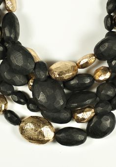 Monies 5 Strand Ebony Beaded Necklace