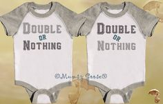 Funny Twin Boys Onesies Twin Set Grey Onsie Raglan by MumsyGoose, $31.00 this is for Stephanie Murray