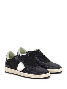PHILIPPE MODEL PARIS - Sneakers - Donna - Sneaker in pelle e pelle effetto crack con suola in gomma. Tacco 30, platform 25 con battuta 5. - BLACK - € 260.00