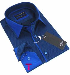 New Mens Formal Blue and Black Stripe Smart Italian Design Collar Slim Fit Shirt