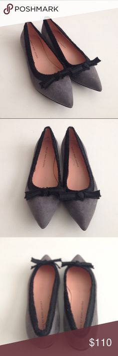 EUC! Marc by Marc Jacobs Suede Ribbon Flats 371/2 EUC! Marc by Marc Jacobs Suede Ribbon Flats 371/2. US 7.5. Like new condition. Only worn once. Gray suede with black ribbon detailing. Marc by Marc Jacobs Shoes Flats & Loafers