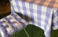 lavender - Gingham Seat Pads | Large Check Chair Cushions | Buffalo Gingham Seat…