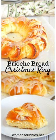 Indulge on this divine Brioche Bread Ring. Be delighted by the soft and buttery brioche that is beautifully assembled and filled with honey stung cream cheese filling, drizzled with sweet cream sugar glaze and studded with tender crisp almonds.