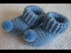Sapatinho em Crochê - Nuvem Pompom - Recém Nascido - Nº4 - Graça Tristão - YouTube