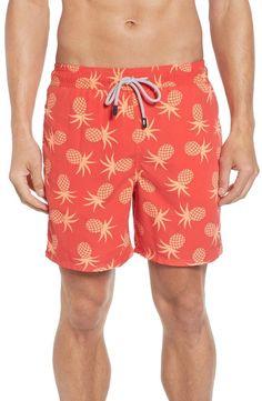 Tom & Teddy Pineapple Print Swim Trunks Men's Swimsuits, Swimwear, Pineapple Print, Swim Trunks, Elastic Waist, Toms, Nordstrom, Fashion, Bathing Suits