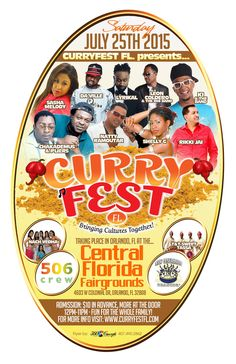 Curry Fest FL 2015! July 25 @Central Florida Fairgrounds, Orlando from noon to 11 pm. Advance tickets $10, more at the door. VIP $50. Repin and check out all the excitement on Facebook, Twitter and YouTube!