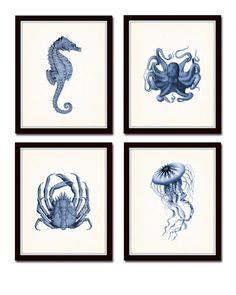 Indigo Sea Life Print Set No.20, Seahorse, Octopus, Indigo Blue, Canvas Art, Prints and Posters, Coastal Art, Nautical Art, Illustration