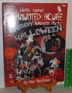Plastic Canvas Crafts 1989 Needlepoint Pattern Book #3064 Halloween Party