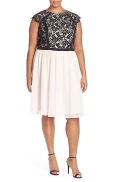 London Times Lace & Chiffon Party Dress (Plus Size) available at #Nordstrom