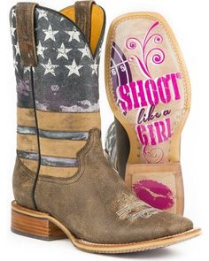 Tin Haul Women's American Woman Cowgirl Boots Square Toe is part of Home Accessories Logo Michael Kors - Mode Country, Country Boots, Western Boots, Western Wear, Country Outfits, Country Girls, Western Store, Country Wear, Flag Country