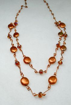 Copper Necklace, Copper Links & Beads, Handmade Links and Beads, Large Deep Amber AB Crystal Roundels, 2 Tiered Necklace, Matching Earrings