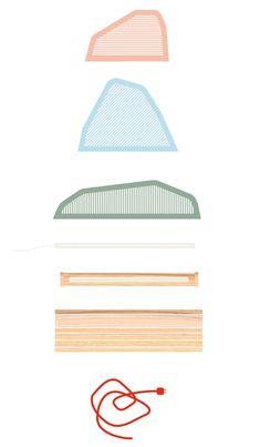 Lampe Paysage par Camille Hesnard - permet de voir les différentes pièces qui composent un objet, les différentes matières et parties -vue éclatée / dessin technique  - décomposé l'objet en montrant chacune des pièces séparément