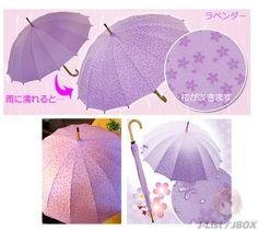 Sakura Water Magic Umbrella ~ PurpleWhen the umbrella gets wet, cherry blossoms appear. Anime Nerd, Getting Wet, How To Look Pretty, Kawaii, Japanese, Cherry Blossoms, Cool Stuff, Purple, Fun