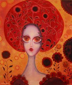 Reine red II – pictura pe panza #art, #Painiting, #Creative