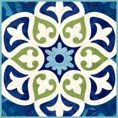 Barcelona Basic Tile by Jennifer Brinley Stencil Patterns, Tile Patterns, Textures Patterns, Print Patterns, Tile Art, Mosaic Tiles, Decorative Tile, Mandala Art, Islamic Art