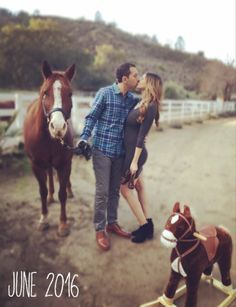 """I love the idea of putting a stuffed horse or rocking horse next to Kody's hooves (which are next to Cache's) and then a line about """"The sibling rivalry (or 'the fight for Mom's attention') begins March 2017."""""""