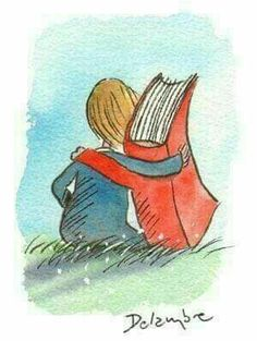 Books are friends. - illustration by Delambre (?), via Caption This on themindsjournal Reading Art, Reading Quotes, Kids Reading, Love Reading, Book Quotes, I Love Books, Books To Read, My Books, World Of Books