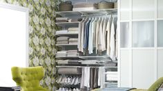 Howards is an elfa® shelving specialist. We have a solution for every room of your home. As a component based system, elfa is flexible enough to adapt and change. Open Wardrobe, Classic Wardrobe, Walk In Closet Design, Closet Designs, Elfa Shelving, Green Armchair, Shelving Design, Small Master Bedroom, Cute Bedroom Ideas