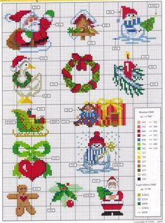 Various small Christmas cross stitch images
