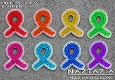 Free Pattern! - Crochet Awareness Ribbon Refrigerator Magnet for Breast Cancer and Other Causes with YouTube Tutorial Video by Naztazia.