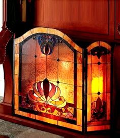Stained Glass - Dale Tiffany Anemone 3-Panel Stained Glass Fireplace Screen - NIB