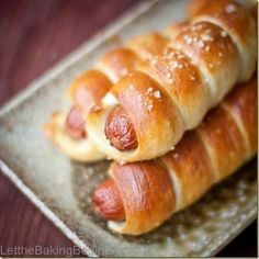 Pretzel Dogs - Chewy dough of the pretzel, slightly sprinkled with coarse salt and all lovingly wrapping the juicy sausage makes for a delicious lunch for kids and adults alike! @Let the Baking Begin Blog!